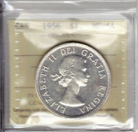 1956 ICCS MS64 $1 CANADA SILVER DOLLAR ONE GORGEOUS