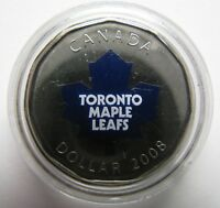 2008 UNC $1 NHL TORONTO MAPLE LEAFS HOME JERSEY COIN ONLY COLOUR LOONIE CREST LO