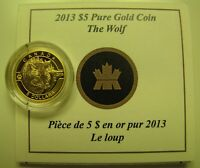 2013 PROOF $5 O CANADA 4 WOLF .9999 GOLD 1/10OZ COIN&COA ONLY FIVE DOLLARS