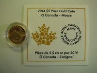 2014 PROOF $5 O CANADA 2 MOOSE .9999 GOLD 1/10OZ COIN&COA ONLY FIVE DOLLARS