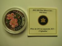 2011 PROOF $20 PAINTED WILDFLOWER 2 WILD ROSE CRYSTAL DEWDROPS COIN&COA ONLY CA