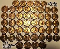 1940-D49 UNCIRCULATED LINCOLN WHEAT CENTS 37 BU/RD & 12 RAINBOW TONED.FREES&H