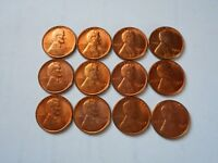 1954 LINCOLN CENTS 12 COINS UNCIRCULATED RED BROWN
