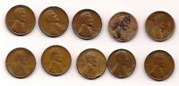 10 LINCOLN WHEAT PENNIES MIXED 1909, 1950S, PLUS