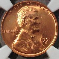 1951-D LINCOLN CENT MINT STATE 66 RD NGC