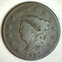 1826 CORONET LARGE CENT US COPPER TYPE COIN VG  GOOD N9 VARIETY PENNY M1