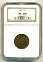 1866 SHIELD 2 CENTS MINT STATE 62 BN NGC