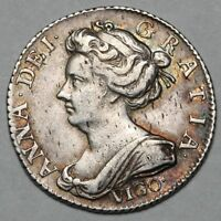1703 QUEEN ANNE GREAT BRITAIN SILVER VIGO SIXPENCE SIX PENCE
