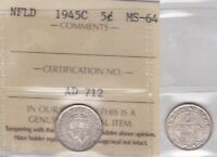 1945C ICCS MS64 5 CENTS NEWFOUNDLAND NFLD NF FIVE HALF DIME FISHSCALE SILVER