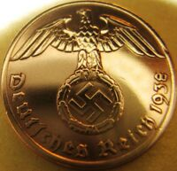 NAZI GERMAN 1 REICHSPFENNIG 1938 GENUINE COIN THIRD REICH EAGLE SWASTIKA WWII