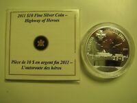 2011 PROOF $10 HIGHWAY OF HEROES CANADA COIN&COA ONLY .9999 SILVER TEN DOLLARS