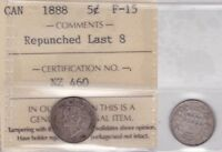 1888 ICCS F15 5 CENTS REPUNCHED LAST 8 CANADA FIVE HALF DIME SILVER FISHSCALE