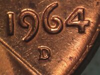 1964 D 1MM 012 WRPM 011 RPM 012 LINCOLN CENT REPUNCHED MINT MARK