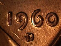 1960 D 1MM 109 WRPM 105 RPM 109 LINCOLN CENT REPUNCHED MINT MARK