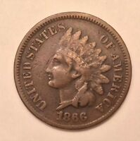 1866 INDIAN HEAD CENT VF CONDITION  COIN