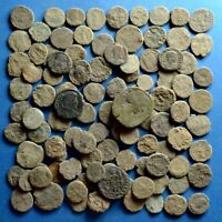 LOT OF 100 UNCLEANED AE1 AE2 AE3 AE4 ROMAN BRONZE COINS