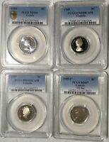 LOT OF 4 PCGS CANADA NICKELS 5 CENTS   1954 1985 1990 & COMM