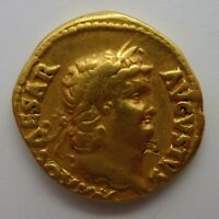 54 68 AD ROMAN EMPIRE NERO GOLD COIN AV AUREUS JUPITER 7.3 GRAMS ANCIENT RIC 52