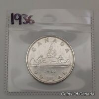 1936 CANADA SILVER $1 DOLLAR COIN   SEALED IN ACID FREE PACK