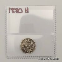 1880 H CANADA SILVER 5 CENTS COIN   SEALED IN ACID FREE PACK