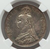 1887 GREAT BRITAIN QUEEN VICTORIA SILVER DOUBLE FLORIN  4 SHILLINGS  NGC MS 62