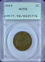 1864 2 CENT LARGE MOTTO PCGS AU58 ERROR 180 DEGREE ROTATED DIES