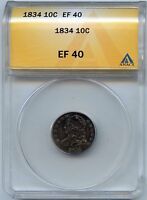 1834 10C  CAPPED BUST SILVER DIME. ANACS GRADED EF 40. LOT 2119