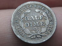 1852 O SEATED LIBERTY HALF DIME- VG DETAILS