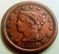 1851 BRAIDED HAIR LARGE CENT      VG/FINE CONDITION