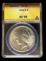 1922-S  ANACS CERTIFIED PEACE DOLLAR AU 58  4780278