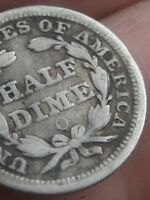 1855 O SEATED LIBERTY HALF DIME- WITH ARROWS