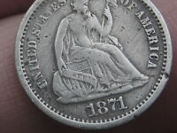 1871 S SEATED LIBERTY HALF DIME- VF/EXTRA FINE  DETAILS