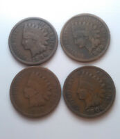 4 INDIAN HEAD PENNY CENTS LOT 1896,1898,1903,1904