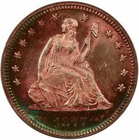 1877 25C LIBERTY SEATED QUARTER PCGS MS64 CAC   EXQUISITELY TONED OBVERSE