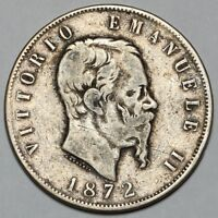 1872 M VITTORIO EMANUELE II MILAN ITALY SILVER 5 LIRE COIN