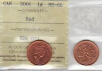2001 ICCS MS66 1 CENT RED CANADA ONE PENNY