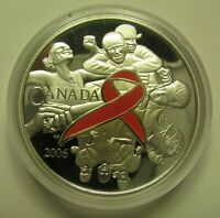 2006 PROOF $5 PINK RIBBON BREAST CANCER CANADA COIN ONLY .9999 SILVER FIVE DOLLA