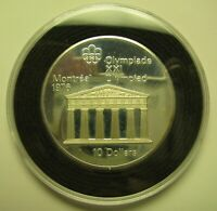 1974 PROOF $10 1976 MONTREAL OLYMPICS 7 TEMPLE ZEUS COIN ONLY CANADA .925 SILVE