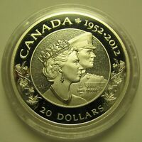 2012 PROOF $20 QUEEN ELIZABETH PRINCE PHILIP DUAL EFFIGY COIN ONLY JUBILEE .9999