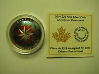 2014 PROOF $25 CHRISTMAS ORNAMENT CANADA COIN&COA ONLY .9999 SILVER TWENTY FIVE