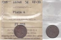 1874H ICCS VF30 5 CENTS PLAIN 4  SMALL DATE  CANADA FIVE HALF DIME SILVER FISHSC
