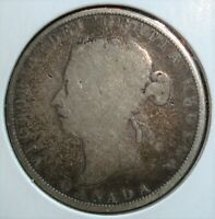 1872 H SILVER CANADA 50 CENTS COIN WITH DOUBLE