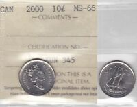 2000 ICCS MS66 10 CENTS CANADA TEN DIME SOLE HIGHEST GRADE ON EBAY