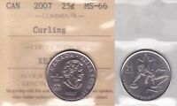 2007 ICCS MS66 25 CENTS CURLING CANADA TWENTY FIVE QUARTER VANCOUVER OLYMPICS