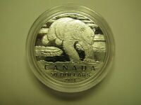 2014 MATTE PROOF $50 FOR $50 POLAR BEAR 1/2OZ .9999 SILVER COIN ONLY CANADA