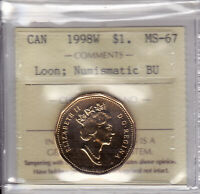 1998W ICCS MS67 NBU  PL BU MS NC  $1 LOON CANADA ONE DOLLAR LOONIE