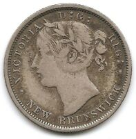 NEW BRUNSWICK SILVER 1864 20 CENTS QUEEN VICTORIA ONLY 150 0