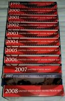 1999 2008 SILVER PROOF SETS 10 SETS WITH COA'S ORIGINAL OWNE