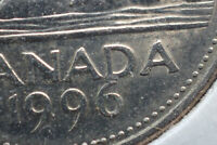 1996 CANADA 5 CENTS NICKEL RARE ATTACHED 6 CANADIAN   HIGH G