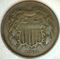 1864 2 CENTS US TYPE COIN COPPER TWO CENT 2C COIN LARGE MOTT